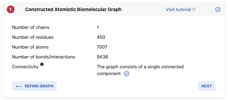 Screenshot of feedback on constructed graph on computational settings page.